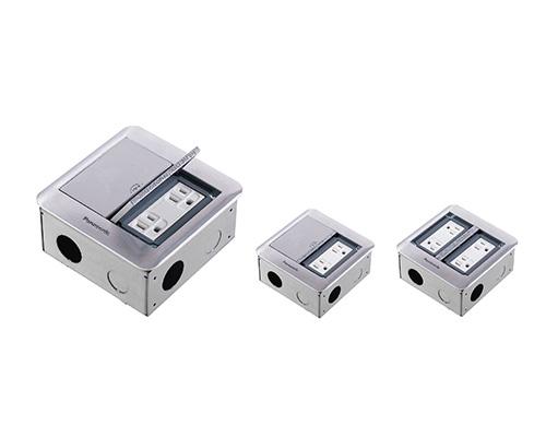 鋁合金製地板插座安裝框架(二連式)